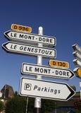 La route signe dedans la France - Auvergne Photos libres de droits