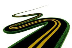 La route tourne l'herbe d'isolement à l'arrière-plan blanc - le rendu 3d Image stock