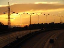 La route vers le soleil de configuration. Images stock