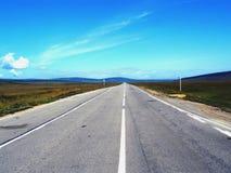 La route vide directe dans la steppe Photographie stock libre de droits