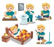 La routine quotidiana di un ragazzo sveglio illustrazione di stock