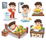 La routine quotidiana di un ragazzo sveglio su un fondo bianco immagine stock