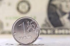 La rublo contro il dollaro e l'euro Fotografie Stock