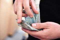 La rublo russa Immagini Stock Libere da Diritti
