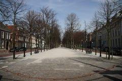 La rue antique dans la ville de Den Haag a appelé le voorhout de lange aux Pays-Bas photographie stock libre de droits
