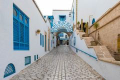 La rue dans la ville tunisienne Yasmine Hammamet, Tunisie image stock