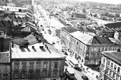 La rue de Lvov, région occidentale de l'Ukraine Image stock