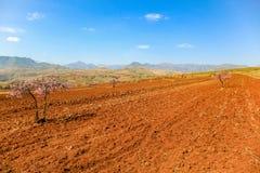 La rue de malealea du Lesotho près de la montagne et la culture mettent en place Image stock