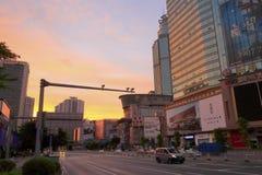 La rue de tianhelu au lever de soleil Photographie stock libre de droits