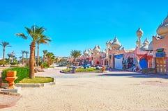 La rue du marché du Sharm el Sheikh, Egypte Images stock
