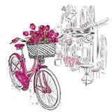 La rue et le vintage de ville vont à vélo avec le panier des tulipes Illustration de vecteur pour une carte ou une affiche illustration libre de droits