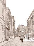 La rue européenne antique de pied Photos stock