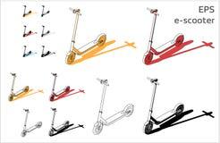 La rue a motorisé les icônes électriques de vecteur d'e-sooter de coup-de-pied réglées pour le dessin et l'illustration architect illustration de vecteur