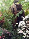 La rueda de un molino de agua entre las flores fotografía de archivo