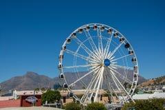 La rueda del cabo en la costa de V&A con la montaña de la tabla en Fotos de archivo libres de regalías