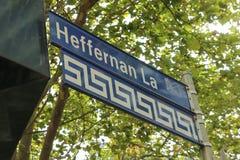 La ruelle de Heffernan est une partie de l'enceinte grecque de Melbournes, un secteur culturel porté sur l'extrémité orientale de Images stock