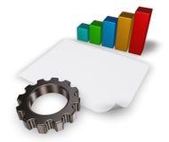 La ruota di ingranaggio, il grafico commerciale e la carta in bianco rivestono Fotografia Stock