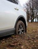 La ruota posteriore dell'automobile 4x4 ottiene rimane incastrata nel fango Immagini Stock Libere da Diritti