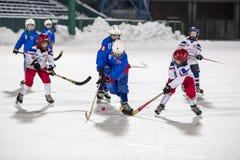 LA RUSSIA, ARCANGELO - 14 DICEMBRE 2014: la lega di hockey arcuata, Russia dei primi bambini della fase Fotografie Stock Libere da Diritti