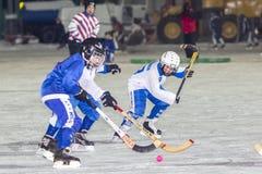 LA RUSSIA, ARCANGELO - 14 DICEMBRE 2014: la lega di hockey arcuata, Russia dei primi bambini della fase Fotografie Stock