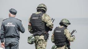 La Russia, Belgorod, il 25 luglio 2016: esercizi delle unità militari speciali infuri la base catturata in vari modi Fotografia Stock