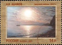 LA RUSSIA - CIRCA 2011: Il bollo stampato in Russia ha dedicato Art Russia contemporaneo, A Adamov Vista sul mare, 2007 Immagine Stock Libera da Diritti