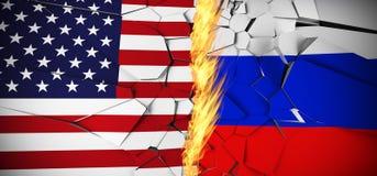 La Russia contro le bandiere di concetto degli Stati Uniti d'America Immagine Stock