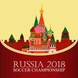 La Russia 2018 coppe del Mondo Insegna di calcio Illustrazione piana di vettore sport Immagine della cattedrale del ` s del basil immagine stock libera da diritti