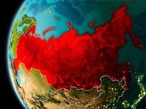 La Russia da spazio nella sera Immagini Stock