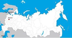 La Russia ha dettagliato la mappa Fotografia Stock Libera da Diritti