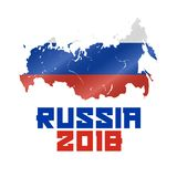 La Russia 2018, mappa russa e bandiera ondeggiata, coppa del Mondo 2018 di calcio Illustrazione di vettore Immagine Stock Libera da Diritti