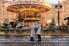 La Russia, Mosca, mercato di Natale sul quadrato rosso fotografia stock libera da diritti