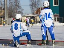 LA RUSSIA, OBUKHOVO - 10 GENNAIO 2015: la lega di hockey arcuata, Russia dei secondi bambini della fase Fotografia Stock Libera da Diritti