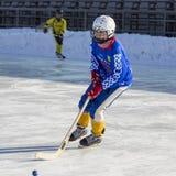 LA RUSSIA, OBUKHOVO - 10 GENNAIO 2015: la lega di hockey arcuata, Russia dei secondi bambini della fase Fotografie Stock