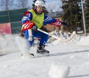 LA RUSSIA, OBUKHOVO - 10 GENNAIO 2015: la lega di hockey arcuata, Russia dei secondi bambini della fase Warmig-up dei giocatori p Fotografia Stock