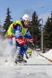 LA RUSSIA, OBUKHOVO - 10 GENNAIO 2015: la lega di hockey arcuata, Russia dei secondi bambini della fase Warmig-up dei giocatori p Fotografia Stock Libera da Diritti