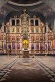 La Russia, Rjazan'1° febbraio 2019 - interno della chiesa ortodossa, altare, iconostasi, alla luce naturale fotografie stock