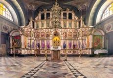 La Russia, Rjazan'1° febbraio 2019 - interno della chiesa ortodossa, altare, iconostasi, alla luce naturale immagini stock