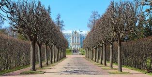 La Russia, Tsarskoye Selo Il parco e Catherine Palace di Catherine fotografie stock