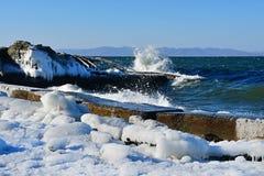 La Russia Vladivostok, baia dell'Amur, spiaggia di Yubileyny nel giorno di inverno gelido fotografia stock
