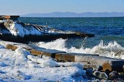 La Russia Vladivostok, il deposito della baia dell'Amur, spiaggia di Yubileyny a dicembre fotografia stock libera da diritti