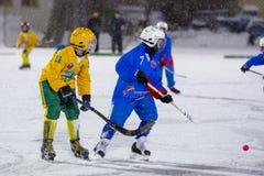 LA RUSSIE, ARKHANGELSK - 14 DÉCEMBRE 2014 : la Ligue de Hockey des 1ers enfants d'étape arquée, Russie Photos stock