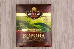 La Russie Berezniki le 15 avril 2018 : la couronne de thé de l'empire russe peut des traditions d'or d'un goût de grande feuille  photo stock