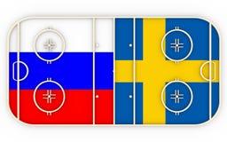 La Russie contre la Suède Concurrence 2016 de hockey sur glace Images stock