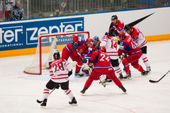 La Russie contre le Canada. Championnat 2010 du monde Photo stock
