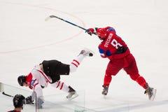 La Russie contre le Canada. Championnat 2010 du monde Photo libre de droits
