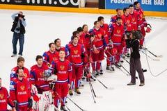 La Russie contre le Canada. Championnat 2010 du monde Photos stock