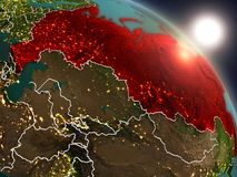 La Russie de l'espace pendant le lever de soleil Image stock