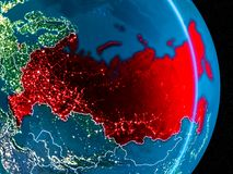 La Russie en rouge la nuit Image stock