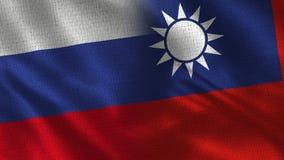 La Russie et Taïwan - drapeau deux ensemble - texture de tissu photos stock
